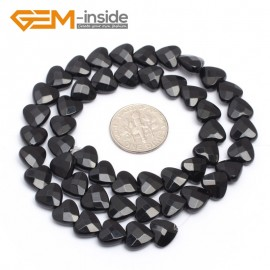 "G7233 8mm Heart Faceted Smooth/ Faceted Black Agate Gemstone DIY Jewelry Making  Loose Beads Strand 15"" Natural Stone Beads for Jewelry Making Wholesale`"