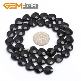 "G7234 10mm Heart Faceted Smooth/ Faceted Black Agate Gemstone DIY Jewelry Making  Loose Beads Strand 15"" Natural Stone Beads for Jewelry Making Wholesale`"