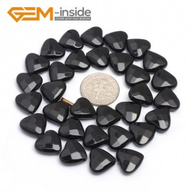 "G7235 12mm Heart Faceted Smooth/ Faceted Black Agate Gemstone DIY Jewelry Making  Loose Beads Strand 15"" Natural Stone Beads for Jewelry Making Wholesale`"
