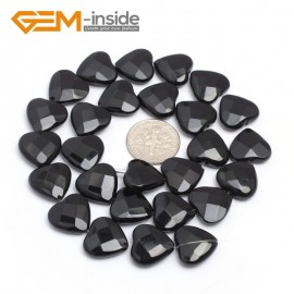 "G7236 14mm Heart Faceted Smooth/ Faceted Black Agate Gemstone DIY Jewelry Making  Loose Beads Strand 15"" Natural Stone Beads for Jewelry Making Wholesale`"