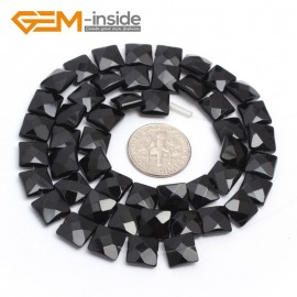 """G7238 8mm Square Faceted Smooth/ Faceted Black Agate Gemstone DIY Jewelry Making  Loose Beads Strand 15"""" Natural Stone Beads for Jewelry Making Wholesale`"""