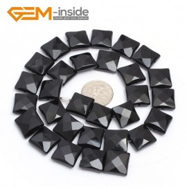 "G7240 12mm Square Faceted Smooth/ Faceted Black Agate Gemstone DIY Jewelry Making  Loose Beads Strand 15"" Natural Stone Beads for Jewelry Making Wholesale`"