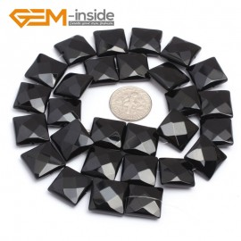 """G7241 14mm Square Faceted Smooth/ Faceted Black Agate Gemstone DIY Jewelry Making  Loose Beads Strand 15"""" Natural Stone Beads for Jewelry Making Wholesale`"""
