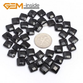"G7242 8mm Diagonal Square Faceted Smooth/ Faceted Black Agate Gemstone DIY Jewelry Making  Loose Beads Strand 15"" Natural Stone Beads for Jewelry Making Wholesale`"