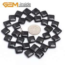 """G7243 10mm Diagonal Square Faceted Smooth/ Faceted Black Agate Gemstone DIY Jewelry Making  Loose Beads Strand 15"""" Natural Stone Beads for Jewelry Making Wholesale`"""