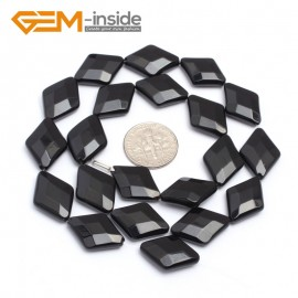 "G7246 13x18mm Rhombus Faceted Smooth/ Faceted Black Agate Gemstone DIY Jewelry Making  Loose Beads Strand 15"" Natural Stone Beads for Jewelry Making Wholesale`"