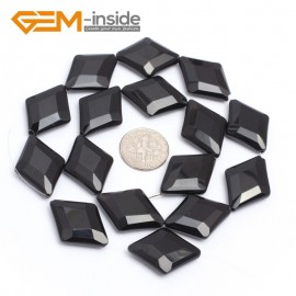 "G7247 18x25mm  Rhombus Faceted Smooth/ Faceted Black Agate Gemstone DIY Jewelry Making  Loose Beads Strand 15"" Natural Stone Beads for Jewelry Making Wholesale`"