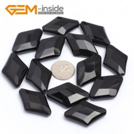 "G7248 20x30mm Rhombus Faceted Smooth/ Faceted Black Agate Gemstone DIY Jewelry Making  Loose Beads Strand 15"" Natural Stone Beads for Jewelry Making Wholesale`"