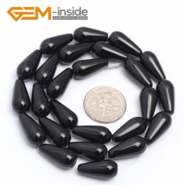 "G7251 8x16mm Teardrop Black Agate Onyx Gemstone Loose Beads Strands 15"" Natural Stone Beads for Jewelry Making Wholesale"