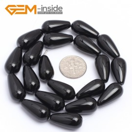 "G7253 10x20mm Teardrop Black Agate Onyx Gemstone Loose Beads Strands 15"" Natural Stone Beads for Jewelry Making Wholesale"