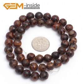 "G7291 8mm Round Brown Tibetan Agate Gemstone Mystical Eye Loose Beads Strands 15"" 8-12mm Natural Stone Beads for Jewelry Making Wholesale"