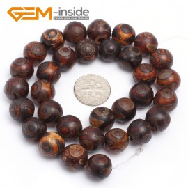 "G7293 12mm Round Brown Tibetan Agate Gemstone Mystical Eye Loose Beads Strands 15"" 8-12mm Natural Stone Beads for Jewelry Making Wholesale"
