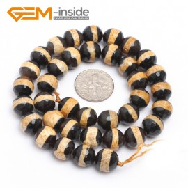 "G7299 Yellow 10mm Round Faceted Gemstone DIY Jewelry Making Banded Eye Fire Agate Beads 15"" Natural Stone Beads for Jewelry Making Wholesale`"