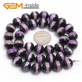 "G7300 Purple 10mm Round Faceted Gemstone DIY Jewelry Making Banded Eye Fire Agate Beads 15"" Natural Stone Beads for Jewelry Making Wholesale`"