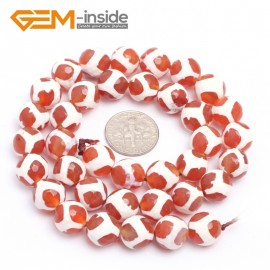 "G7305 White Football 10mm Round Faceted Gemstone DIY Jewelry Making Banded Eye Fire Agate Beads 15"" Natural Stone Beads for Jewelry Making Wholesale`"