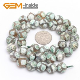"G313 Green 10mm Round Faceted Gemstone DIY Jewelry Making Banded Eye Fire Agate Beads 15"" Natural Stone Beads for Jewelry Making Wholesale`"