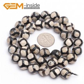 "G7314 White&Black 10mm Round Gemstone Faceted Agate Beads Jewelry Making Loose Beads Strand 15"" Natural Stone Beads for Jewelry Making Wholesale"