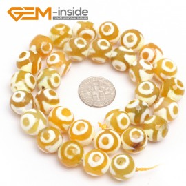 "G7317 Yellow 12mm Round Faceted Gemstone DIYJewelry Crafts Making Banded Fire Agate Beads 15"" Natural Stone Beads for Jewelry Making Wholesale`"