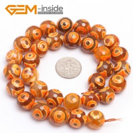 "G7318 Orange 12mm Round Faceted Gemstone DIYJewelry Crafts Making Banded Fire Agate Beads 15"" Natural Stone Beads for Jewelry Making Wholesale`"