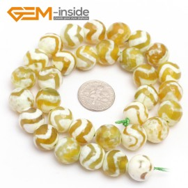 """G7321 Yellow 12mm Round Faceted Gemstone DIYJewelry Crafts Making Banded Fire Agate Beads 15"""" Natural Stone Beads for Jewelry Making Wholesale`"""