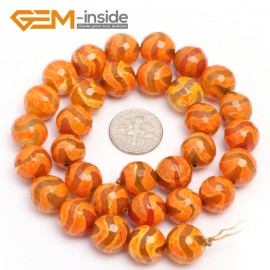 "G7323 Orange 12mm Round Faceted Gemstone DIYJewelry Crafts Making Banded Fire Agate Beads 15"" Natural Stone Beads for Jewelry Making Wholesale`"