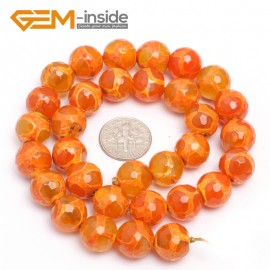 "G7328 Orange 12mm Round Faceted Gemstone DIYJewelry Crafts Making Banded Fire Agate Beads 15"" Natural Stone Beads for Jewelry Making Wholesale`"