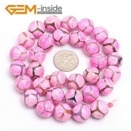 "G7329 Rose 12mm Round Faceted Gemstone DIYJewelry Crafts Making Banded Fire Agate Beads 15"" Natural Stone Beads for Jewelry Making Wholesale`"