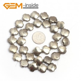 "G7342 12mm Flower Smooth/Faceted Gemstone Pyrite DIY Crafts Making Loose Stone Beads Strand 15"" Natural Stone Beads for Jewelry Making Wholesale`"