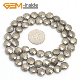 """G7352 8mm Coin Faceted Smooth/Faceted Gemstone Pyrite DIY Crafts Making Loose Stone Beads Strand 15"""" Natural Stone Beads for Jewelry Making Wholesale`"""