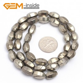 "G7355 6x10mm faceted silver gary pyrite beads 15"" DIY jewelry making Natural Stone Beads for Jewelry Making Wholesale"