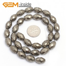 """G7360 8x12mm Olivary Faceted Smooth/Faceted Gemstone Pyrite DIY Crafts Making Loose Stone Beads Strand 15"""" Natural Stone Beads for Jewelry Making Wholesale`"""