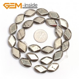 "G7378 10x16mm Oval Smooth/Faceted Gemstone Pyrite DIY Crafts Making Loose Stone Beads Strand 15"" Natural Stone Beads for Jewelry Making Wholesale`"