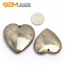 G7392 Heart(35mm) Natural Carved Silver Gray Pyrite Gemstone Jewelry Pendant Loose Beads 1 Pcs Pendants Fashion Jewelry Jewellery