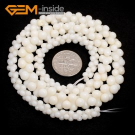 "G7421 6-10mm White Graduated Bone Gemstone Coral DIY Jewelry Making Necklace Loose Beads Strand 15"" Natural Stone Beads for Jewelry Making Wholesale`"