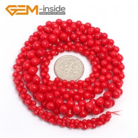 "G7422 6-10mm Red  Graduated Bone Gemstone Coral DIY Jewelry Making Necklace Loose Beads Strand 15"" Natural Stone Beads for Jewelry Making Wholesale`"