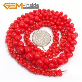 "G7425 6-12mm Red Graduated Bone Gemstone Coral DIY Jewelry Making Necklace Loose Beads Strand 15"" Natural Stone Beads for Jewelry Making Wholesale`"