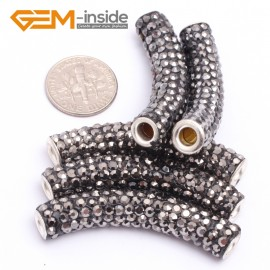 G7459 Gray 5Pcs Rhinestones Paved Tube Bracelet Connector Charm Beads Curved CZ Crystal Fashion Jewelry Jewellery Bracelets  for women