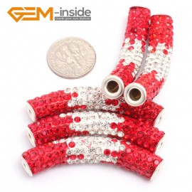 G7461 Gradient Red 5Pcs Rhinestones Paved Tube Bracelet Connector Charm Beads Curved CZ Crystal Fashion Jewelry Jewellery Bracelets  for women