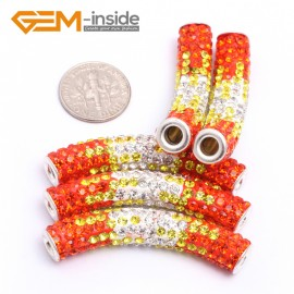 G7462 Gradient Orange 5Pcs Rhinestones Paved Tube Bracelet Connector Charm Beads Curved CZ Crystal Fashion Jewelry Jewellery Bracelets  for women