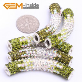 G7466 Gradient Green 5Pcs Rhinestones Paved Tube Bracelet Connector Charm Beads Curved CZ Crystal Fashion Jewelry Jewellery Bracelets  for women