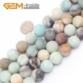 """G7486 14mm Mixed Color Round Frost Mixed Color Amazonite Gemstone Jewelry Making Loose Beads Strand 15"""" Natural Stone Beads for Jewelry Making Wholesale"""