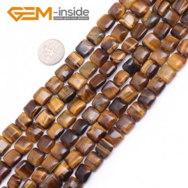 "G7493  10mm Square Yellow Natural Gemstone Tiger Eye Beads Strand 15""  Natural Stone Beads for Jewelry Making Wholesale"
