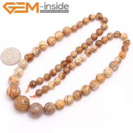 "G7497 6-14mm Round Graduated Natural Picture Jasper Gemstone DIY Loose Beads Strand 15"" Natural Stone Beads for Jewelry Making Wholesale"