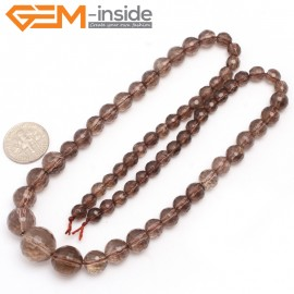 "G7501 6-14mm Round Graduated Faceted Smoky Quartz Gemstone DIY Loose Beads Strand 15"" Natural Stone Beads for Jewelry Making Wholesale"