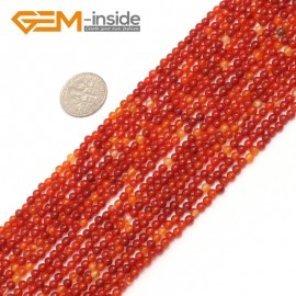 "G7507 3mm Natural Carnelian Agate Stone Round Gemstone Tiny Jewelry Making Loose Spacer Beads Strand 15"" Natural Stone Beads for Jewelry Making Wholesale"