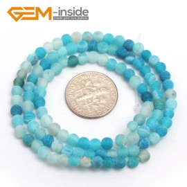 "G7510 frost blue 4mm Round Tiny Agate Spacer Beads Jewelry Making Loose Beads 15"" 11 Colors Pick Natural Stone Beads for Jewelry Making Wholesale"