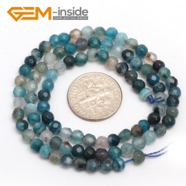 "G7515 faceted blue 4mm Round Tiny Agate Spacer Beads Jewelry Making Loose Beads 15"" 11 Colors Pick Natural Stone Beads for Jewelry Making Wholesale"