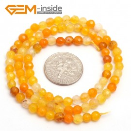 "G7516 faceted yellow 4mm Round Tiny Agate Spacer Beads Jewelry Making Loose Beads 15"" 11 Colors Pick Natural Stone Beads for Jewelry Making Wholesale"
