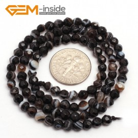 """G7518 banded faceted black 4mm Round Tiny Agate Spacer Beads Jewelry Making Loose Beads 15"""" 11 Colors Pick Natural Stone Beads for Jewelry Making Wholesale"""