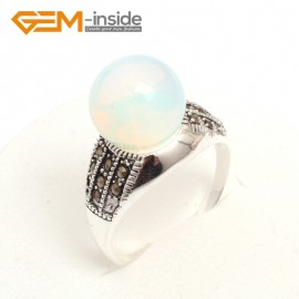 G7554 White opalite Pretty 12mm round beads tibetan silver marcasite ring US #6-#9 11 materials pick Rings Fashion Jewelry Jewellery